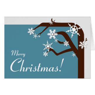 Winter Tree Blue Snowflake Christmas Card