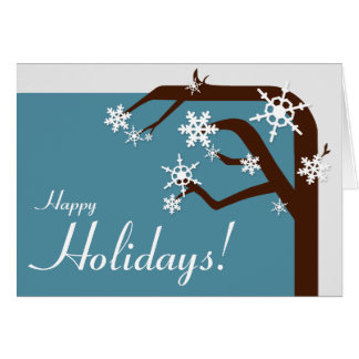 Winter Tree Blue Snowflake Holiday Card