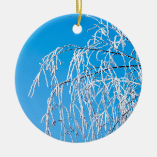 Winter tree branches covered with frost snow ceramic ornament
