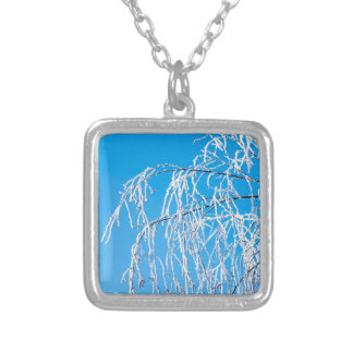 Winter tree branches covered with frost snow silver plated necklace
