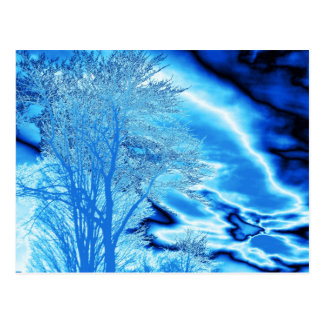 Winter Tree N Clouds in Blue (Customize) Postcard