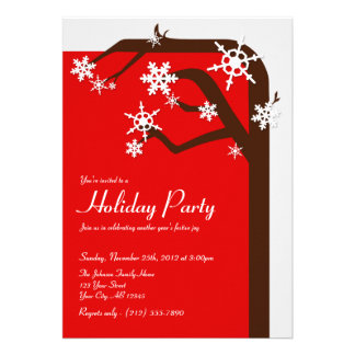Winter Tree Snowflake - Holiday Party Invitations