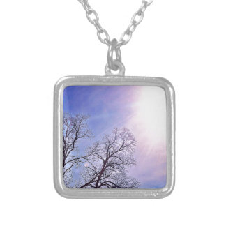 Winter Trees & A Cold Sun Seasonal Nature Art Silver Plated Necklace