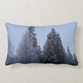 Winter Trees at Dawn Snow Landscape Photography Lumbar Pillow