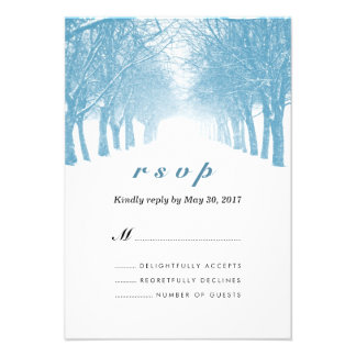 Winter Trees Avenue Wedding RSVP Card