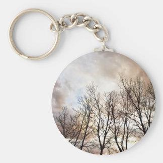 Winter Trees Basic Round Button Keychain