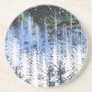 Winter trees beverage coasters
