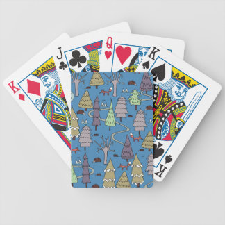 winter trees bicycle playing cards
