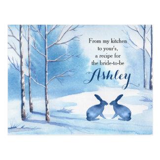Winter Trees Blue White Shower Recipe Card