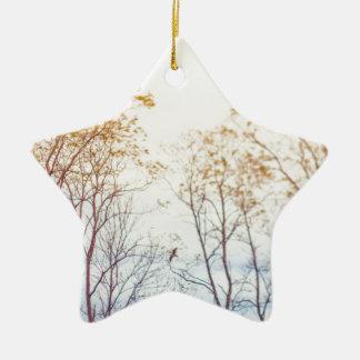 Winter Trees Ceramic Star Ornament