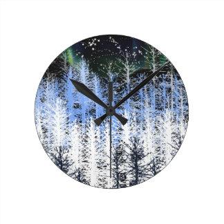 Winter trees clock