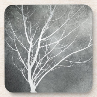 winter trees coaster grey and white original art