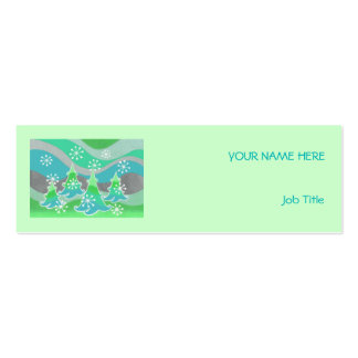 Winter Trees Green business card green skinny