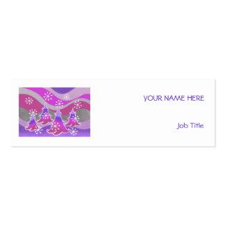 Winter Trees Purple business card white skinny