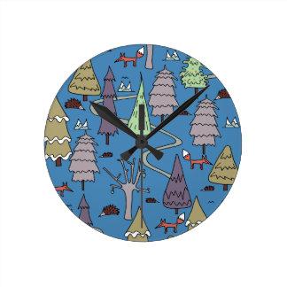 winter trees round clock