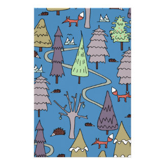 winter trees stationery