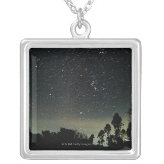 Winter Triangle of Stars Silver Plated Necklace