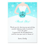 Winter Turquoise Bridal Shower Thank You Card Custom Announcements