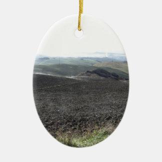 Winter Tuscany landscape Ceramic Oval Ornament