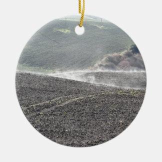 Winter Tuscany landscape Round Ceramic Ornament