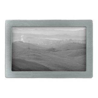Winter Tuscany landscape with plowed fields Belt Buckle