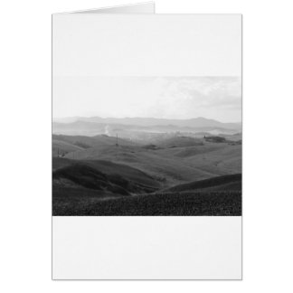 Winter Tuscany landscape with plowed fields Card
