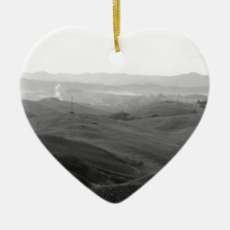 Winter Tuscany landscape with plowed fields Ceramic Ornament