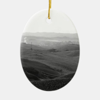 Winter Tuscany landscape with plowed fields Ceramic Oval Ornament