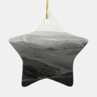 Winter Tuscany landscape with plowed fields Ceramic Star Ornament