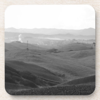 Winter Tuscany landscape with plowed fields Coaster