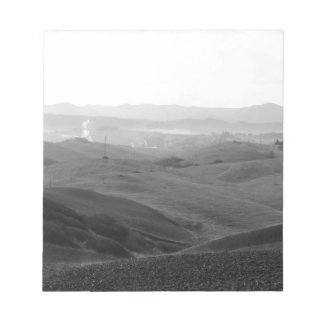 Winter Tuscany landscape with plowed fields Notepads