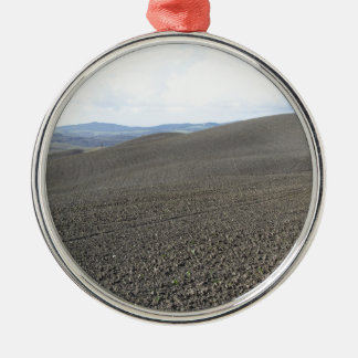 Winter Tuscany landscape with plowed fields Silver-Colored Round Ornament