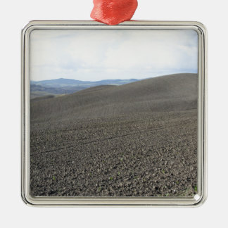 Winter Tuscany landscape with plowed fields Silver-Colored Square Ornament