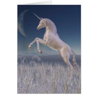 Winter Unicorn - rearing Greeting Card
