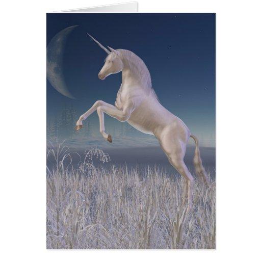 Winter Unicorn - rearing Greeting Cards