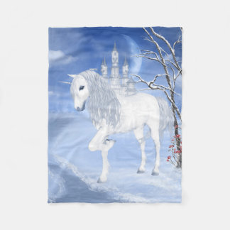 Winter Unicorn Small Fleece Blanket