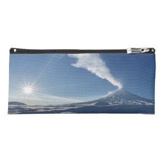 Winter view of eruption active volcano pencil case
