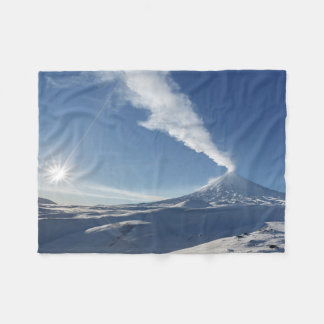 Winter view of eruption volcano fleece blanket