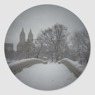 Winter View On Bow Bridge,Central Park, NYC Round Sticker