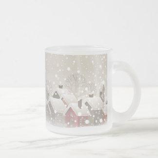 Winter Village Frosted Glass Mug