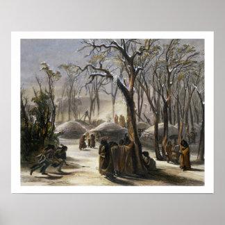 Winter Village of the Minatarres Poster