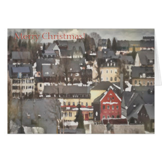 Winter Village with One Red House Merry Christmas Card