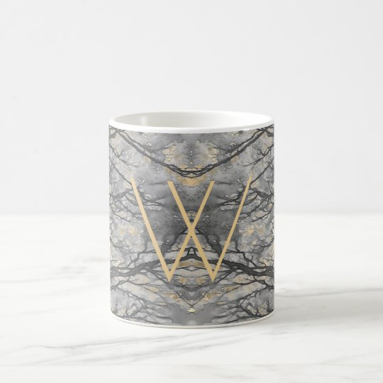WINTER VINE Monogram Pale Gold Grey Coffee Mug