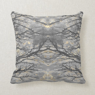WINTER VINE Pale Gold Gray Throw Pillow