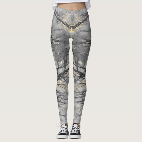 WINTER VINE Pale Gold Grey Leggings