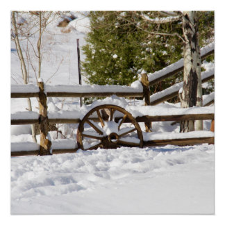 Winter Wagon Wheel Poster