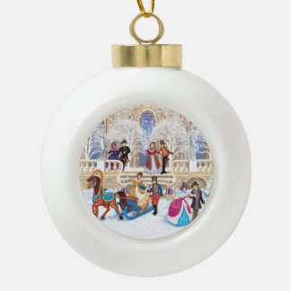 Winter walk ceramic ball christmas ornament