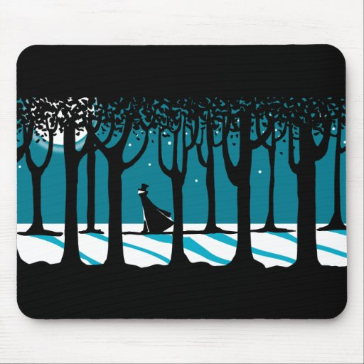 Winter Walk in Moonlit Woods. Mousepad