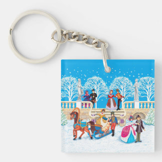 Winter walk Double-Sided square acrylic keychain