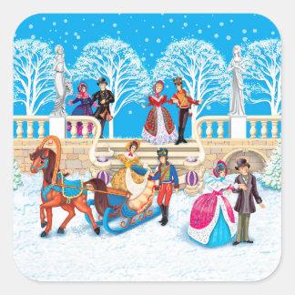 Winter walk square sticker